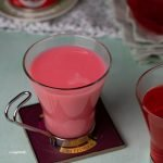 Sirap Bandung (Rose Syrup with Milk) in a glass