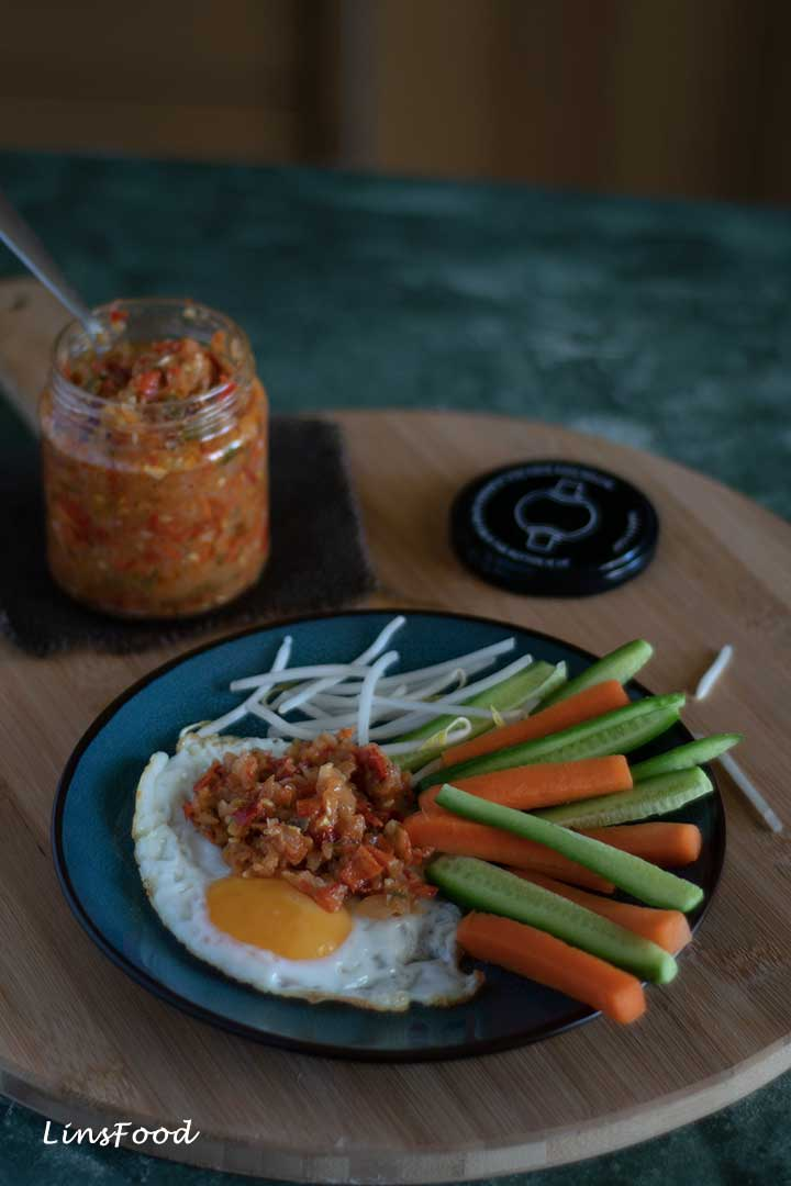Easy Cooked Onion Sambal with egg and salad