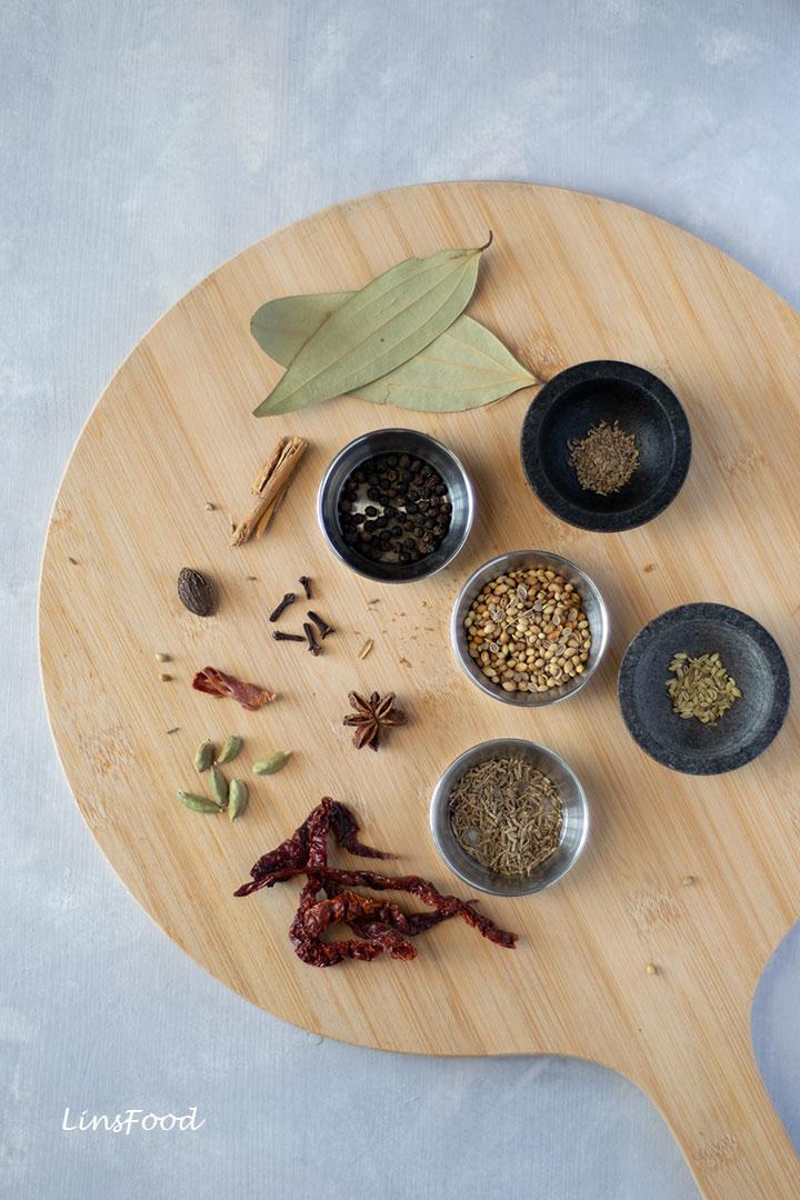 Biryani Masala ingredients on a round board